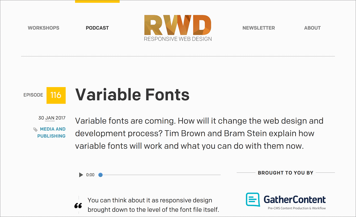 Variable Fonts on the Responsive Web Design podcast